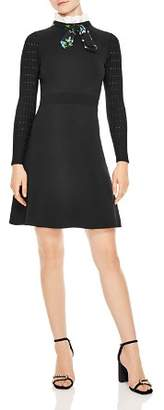 Sandro Clémence Tie-Neck A-Line Dress