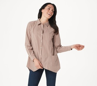 Logo By Lori Goldstein LOGO by Lori Goldstein Woven Button-Front Striped Blouse