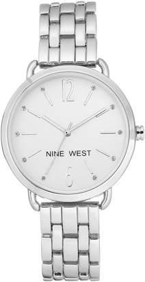 Nine West Women's Silvertone Crystal Bracelet Watch