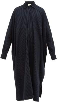Marrakshi Life - Oversized Striped Cotton Blend Long Shirt - Mens - Black