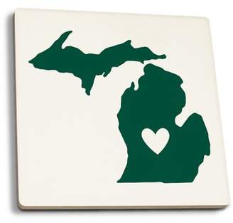 Michigan - State Outline & Heart - Lantern Press Artwork (Set of 4 Ceramic Coasters - Cork-backed, Absorbent)
