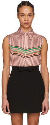 Miu Miu Pink Sleeveless Striped Shirt