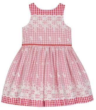 Laura Ashley Checkered Embroidered Mesh Dress (Toddler Girls)