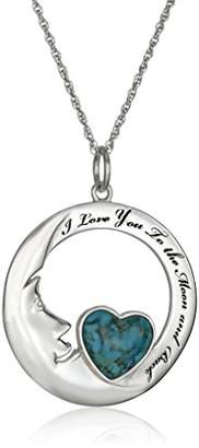 Sterling Silver Synthetic Compressed Heart Moon Pendant Necklace