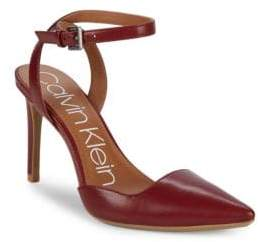 Calvin Klein Raffaela Leather Ankle-Strap Pumps