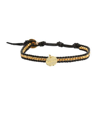 Chan Luu Gold Beads on Black Leather Bracelet with Gold Dream Charm