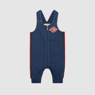 Gucci Baby jersey denim overall with Web