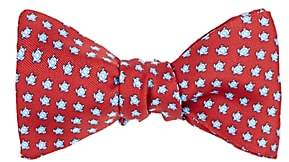 Barneys New York MEN'S TURTLE-PRINT SILK BOW TIE-RED