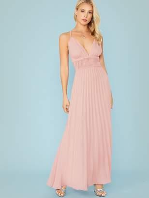 Shein Plunging Crisscross Back Pleated Dress