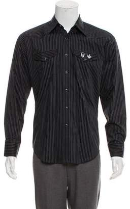 Lucien Pellat-Finet Skull-Embroidered Pinstripe Shirt