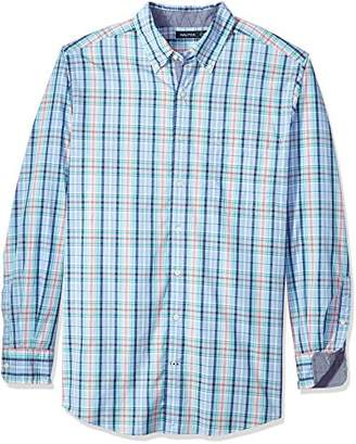 Nautica Men's Big and Tall Long Sleeve Large Plaid Button Down Shirt