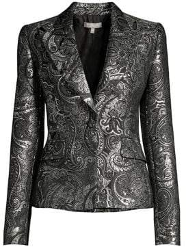Michael Kors Metallic Paisley Brocade Jacket