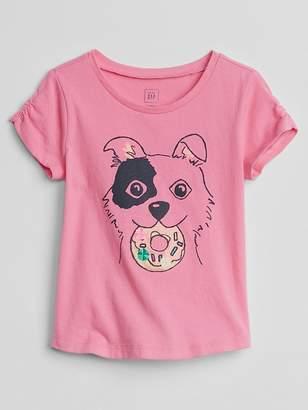 Gap Shirred-Sleeve Graphic T-Shirt