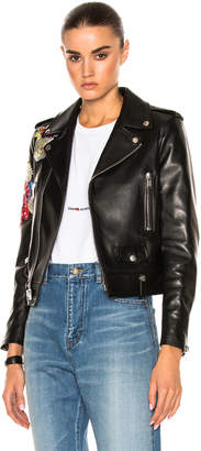 Saint Laurent Embellished Embroidered Leather Motorcycle Jacket