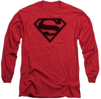 Superman Mens & Black Shield Long Sleeve T-Shirt