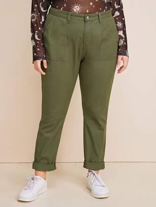 Shein Plus Army Green Dual Pocket Jeans