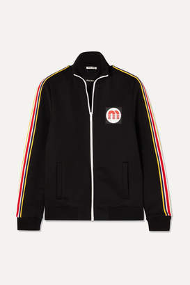 Miu Miu Striped Cotton-blend Jersey Track Jacket - Black