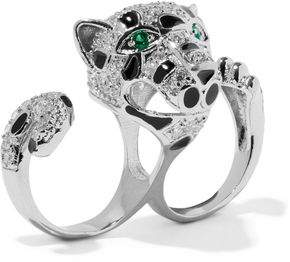 Kenneth Jay Lane Cz By Silver-Tone Crystal And Enamel Two-Finger Ring