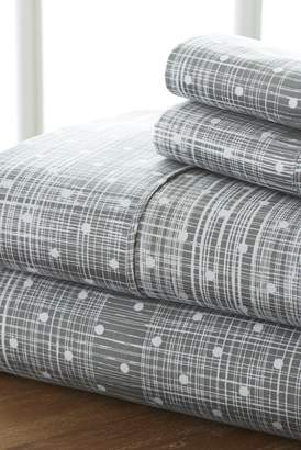 IENJOY HOME The Home Spun Premium Ultra Soft Polka Dot Pattern 4-Piece King Bed Sheet Set - Gray