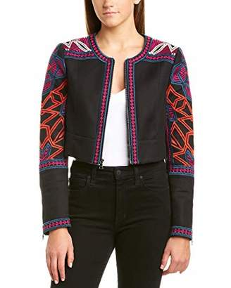 BCBGMAXAZRIA Women's Embroidered Cropped Jacket