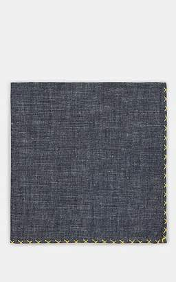 Eleventy Men's Cross-Stitched Chambray Pocket Square - Yellow