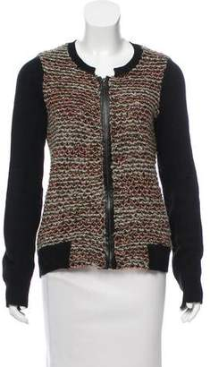 Leroy & Perry Leather-Accented Boucle Cardigan