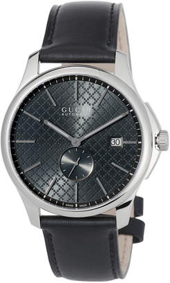 Gucci 40mm G-Timeless Men's Automatic Watch w/ Leather Strap, Black