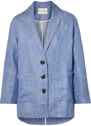 Mara Hoffman Fatima Striped Organic Linen-twill Jacket - Blue