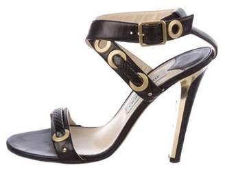 Jimmy Choo Snakeskin-Trimmed Ankle Strap Sandals
