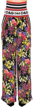 Dolce & Gabbana Floral Stretch Silk Charmeuse Pants