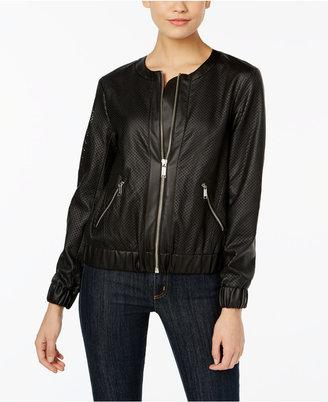 MICHAEL Michael Kors Faux-Leather Bomber Jacket $175 thestylecure.com