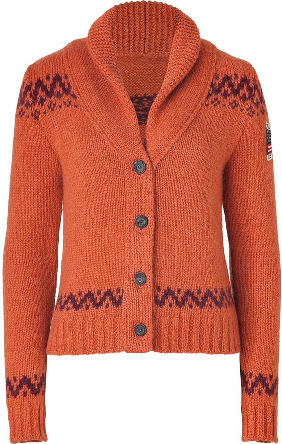 True Religion Orange/Rust Alpaca-Blend Knit Cardigan