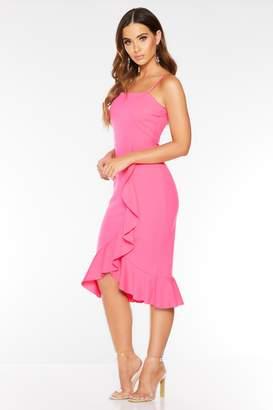 Quiz Hot Pink Square Neck Frill Midi Dress
