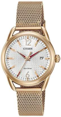 Citizen Eco-Drive LTR Collection White Patterned Dial Rose Gold Tone Stainless Steel Mesh Bracelet Ladies Watch