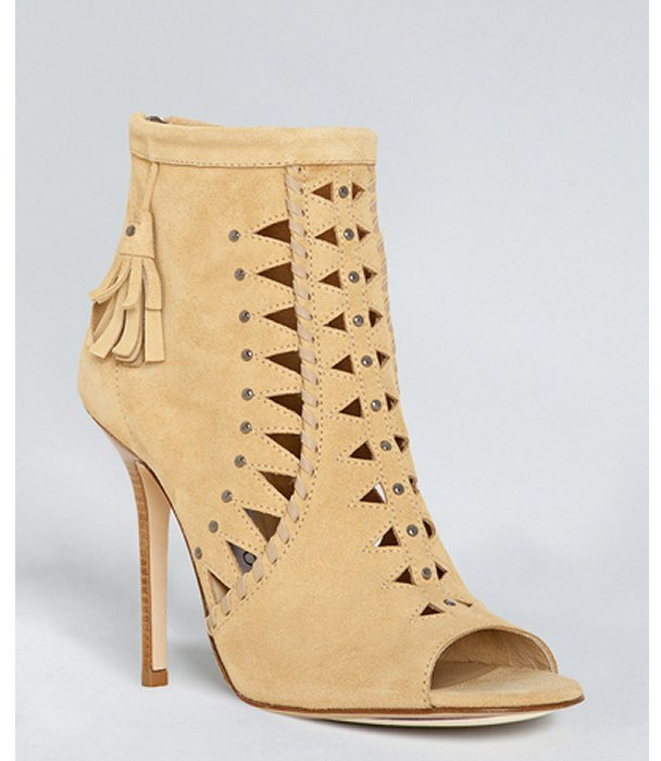 Jimmy Choo champagne suede 'Zen' cut-out booties