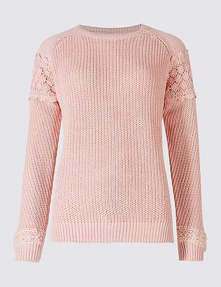 M&S Collection Pure Cotton Lace Round Neck Jumper