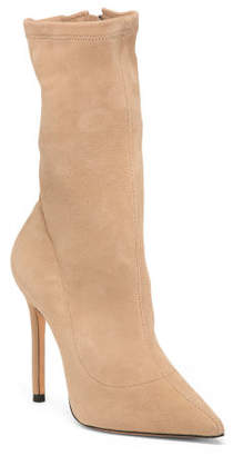 Made In Brazil Suede Pointy Toe Stiletto Heel Mid Calf Boots
