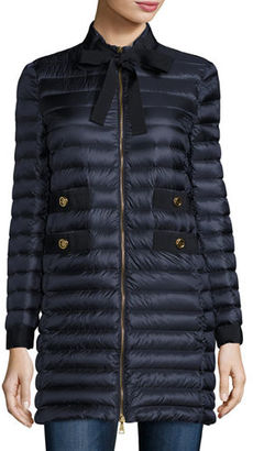 Moncler Pavot Tie-Front Down Jacket $1,395 thestylecure.com