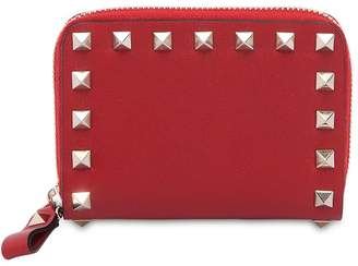 Valentino Small Rockstud Leather Zip-Around Wallet