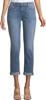Eileen Fisher Abraded Denim Boyfriend Jeans, Petite
