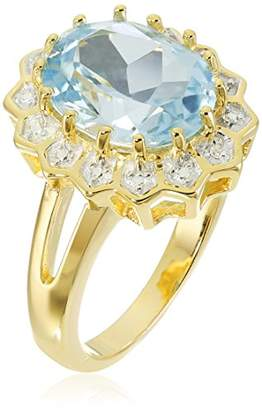 18k Yellow Gold Plated Sterling Silver Oval Sky Topaz and Diamond Accent Halo Ring