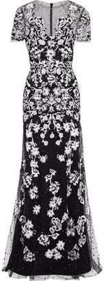 Jenny Packham Floral-Appliquéd Embellished Tulle Gown