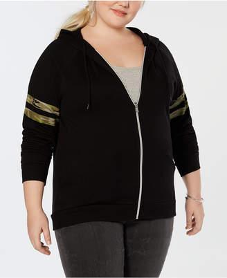 Hybrid Plus Size Camo-Stripe Zip-Up Jacket