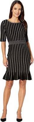 Taylor Dresses Women's Vertical Stripe Flounce Skirt Sweater Dress