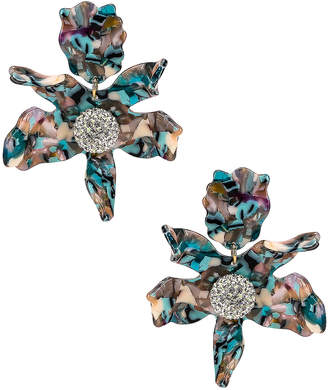 Lele Sadoughi Crystal Lily Clip Earrings in Turquoise Confetti | FWRD