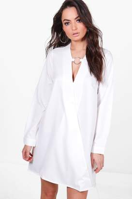 boohoo Kya O-Ring Detail Wrap Front Shirt Dress