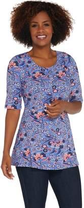 Denim & Co. Regular Elbow-Sleeve Printed Fit & Flare Tunic