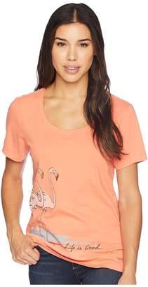Life is Good Elegant Flamingos Crusher Scoop Neck Tee Women's T Shirt