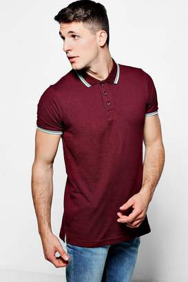 boohoo Short Sleeve Pique Polo With Tipping Detail
