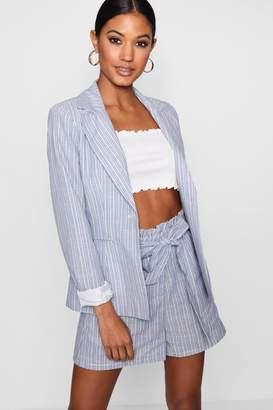 boohoo Stripe Linen Blazer